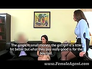 Busty assistant showed young Romanian how to treat agent's penis before anal sex and creampie 3