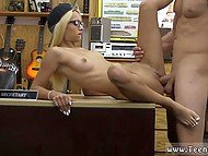 Slender Latvian secretary lays on the work table and spreads legs for boss' erect boner 4