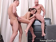 Young man kindly shares his restless wife with guest who willingly joins friends having sex 5