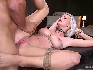 Cuddly babe with platinum hair came into hands of pervert who tied her up and fucked