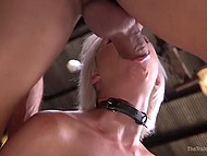 Cuddly babe with platinum hair came into hands of pervert who tied her up and fucked 5