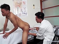Gay doctor from Thailand sucks skinny patient's cock and uses different things to masturbate his anus