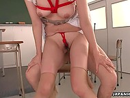Lustful teachers tied busty Japanese student's body up with ropes and fucked her in classroom 7