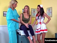 Swedish gynecologist Puma Swede and her vicious assistant pounce on sweet hole of Nicole Aniston 5