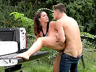 Enticing love went to forest together with friend in his pickup and implemented tempting plan