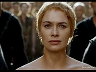 Lena Headey as Cersei Lannister gets her hair cut and takes walk of shame through indignant crowd 6