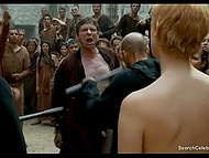 Lena Headey as Cersei Lannister gets her hair cut and takes walk of shame through indignant crowd 8