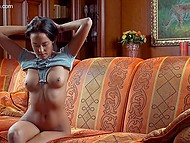 Entrancing brunette takes pictures of her ass and gets so excited that masturbates on sofa 11