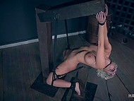 Steel hook tests asshole of blonde woman with big boobs and man shoves cane into her mouth 7