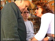 Farmer and young helper fucked French mature from behind and came over face 6