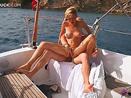 Bald womanizer gifted simple bathing suit to lovely wife and got awesome fucking on yacht 11