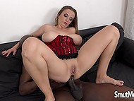Solid black dick excellently fitted big-boobied female and toughly penetrated her anal hole