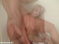 Blonde woman from Poland doesn't hurry to take warm bath moving sex toy in rosy pussy 10