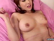 Partner grabs huge natural tits of Japanese girl when starts drilling her overgrown pussy 9