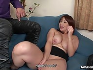 After playing with vibrator, voluptuous lady from Japan takes chaser's things in mouth 5