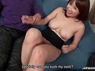 After playing with vibrator, voluptuous lady from Japan takes chaser's things in mouth 6