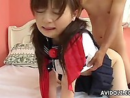 Teen Japanese student got her hands tied up, so fuckers bravely fuck her from both ends 8