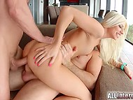 White-haired nympho Jessy Volt practices double penetration in HD gonzo video