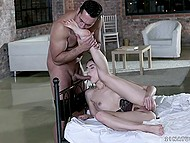 Man pays as much attention to feet of charming girlfriend as his cock to trimmed pussy 3