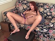 Burning with strong sexual desire girl keeps pussy under flowing faucet and plays with vibrator 3