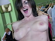 Handsome face and good compliment open guy the way for pussy of brunette MILF with big boobs 8