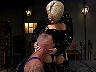 Dominant blonde in latex fucks hanged man with strapon then saddles his cock with pussy 5