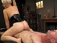 Dominant blonde in latex fucks hanged man with strapon then saddles his cock with pussy 7
