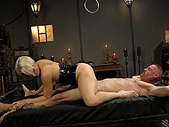 Dominant blonde in latex fucks hanged man with strapon then saddles his cock with pussy 8