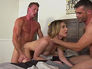 Young woman Dahlia Sky made a gift for my husband Rodak and brought a friend for a Threesome