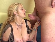 Mature lady caressed her clitoris and gave blowjob waiting for guy's penis inside trimmed vagina 11