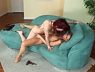 Small-waisted beauties actively use fingers and adult toy to have good time on couch 11