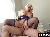 Hussy with white hair never denies opportunity of having nice sex with brutal man on camera