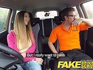 Italian girl with juicy shapes was driving well but also needed to ride tutor's cock to get license 6