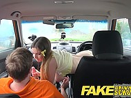 Italian girl with juicy shapes was driving well but also needed to ride tutor's cock to get license 8