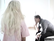 Brutal stepfather doesn't punish his blonde-haired stepdaughter and just inseminates tiny pussy 4