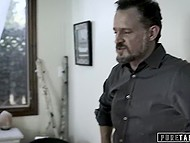 Brutal stepfather doesn't punish his blonde-haired stepdaughter and just inseminates tiny pussy 5