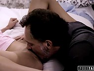 Brutal stepfather doesn't punish his blonde-haired stepdaughter and just inseminates tiny pussy 8