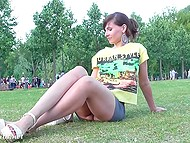 Russian minx Jeny Smith lifts tight dress up a bit more than it should be in public place 11