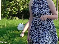 Russian minx Jeny Smith lifts tight dress up a bit more than it should be in public place 5