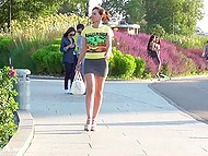 Russian minx Jeny Smith lifts tight dress up a bit more than it should be in public place 7
