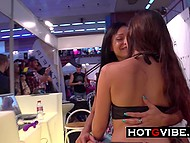 Argentinian MILF Lara Tinelli makes pussy squirt using sex toys in front of spectators 4