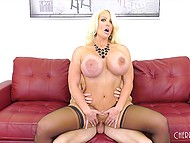 Man fucks blonde MILF Alura Jenson in stockings and cums over huge knockers