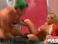 Pumped guy gets on Christmas two lascivious whores and he has no choice but to fuck them 5