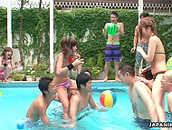 Japanese party-goers get their pussies fingered into squirt after losing pool fight 7