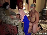 Two soldiers of American army record rough threesome with sexy Arab woman in hijab 4