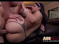 Bootylicious female vacuums kitchen in tight bikini and soon gets hard cock in juicy pussy