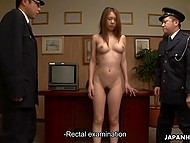 Japanese police officers use unusual methods of interrogation to get information from tall prisoner with hairy pussy