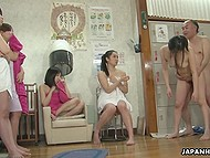 Mature pervert stops time in female sauna and fucks some slender Japanese chicks