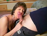 Mature Norwegian wife presents nice bj to lazy husband in homemade porn video 9