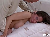 Guy helped delicious brunette to take off her wedding dress and had active fuck 5